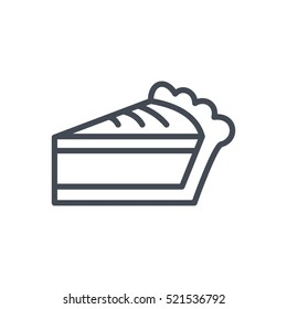 Thanksgiving Day Icon Outlined Holiday Line Pie Slice