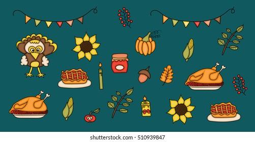 Hand Drawn Party Decorations Elements Birthday Stock Illustration