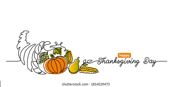 Thanksgiving Day line art background with horn of plenty, cornucopia and vegetables. Simple vector web banner. One continuous line drawing with lettering happy Thanksgiving Day.