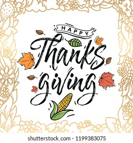 Thanksgiving day. Logo, text design. Typography for greeting cards and posters. Give thanks.