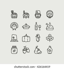 Thanksgiving Day Outline 16 Icons