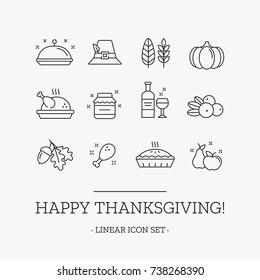 Thanksgiving day outline vector icon set. Collection of holiday traditional elements. Modern thin outline symbols.