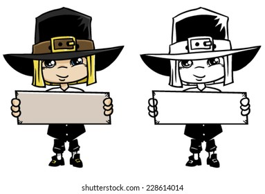 Thanksgiving Day Pilgrim with custom sign on a white background, vector illustration