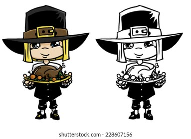 Thanksgiving Day Pilgrim with Turkey dinner on a white background, vector illustration