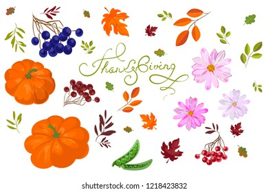 Thanksgiving Day Potluck party,  vector illustration set isolated