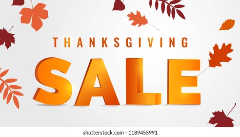 Thanksgiving day sale autumn background. Vector illustration