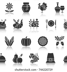Thanksgiving day seamless pattern. Black silhouette with reflection on white vector illustration. Monochrome background season celebration symbol. Print, wrapping, textile, card, banner, flyer design
