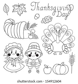 Thanksgiving Day. Set of elements for design.