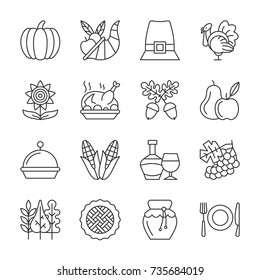 Thanksgiving day thin line icon set. Holiday diner vector linear symbol pack. Outline sign without fill. Editable stroke. Simple pictogram graphic collection. Logo, web design, business style concept