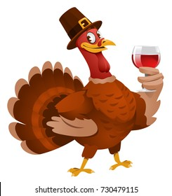 Thanksgiving Day. Turkey in a hat giving a toast. Cartoon styled vector illustration. Elements is grouped. No transparent objects. Isolated on white.