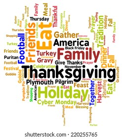 Thanksgiving Day turkey word cloud. Infographic shows the religious and secular, historical and modern celebration of an American Thanksgiving, including watching football and going shopping. Vector.