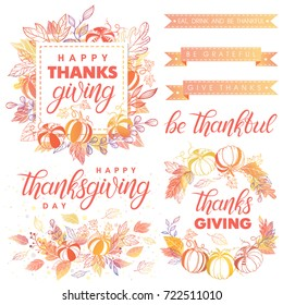 Thanksgiving Day typography.Collection of Thanksgiving Day greetings, hand painted lettering,autumn bouquets, pumpkins and leaves.Perfect for prints,flyers,cards, promos, holiday invitations and more.