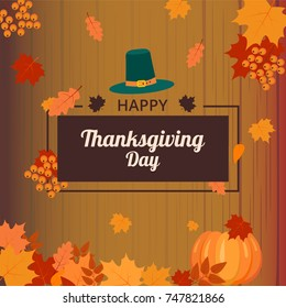 Thanksgiving day vector card on a brown background