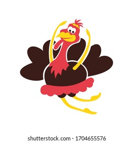 Thanksgiving Day vector dancing turkey. Hand drawn colorful isolated illustration in cartoon style with bird dancer. November Holiday surface design for card, t-shirt, card, banner, flyer, invitation