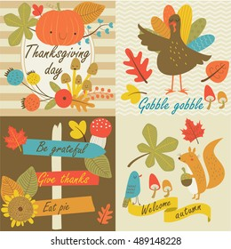 Thanksgiving day in vector set with autumn flowers, leaves, nuts, turkey, forest in cartoon style