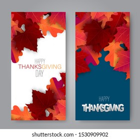 Thanksgiving day vertical banner or flyer. Realistic vector illustration with red and orange autumn leaves. Design for advertisement, invitation card, offer, discount. USA national holiday event decor