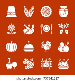 Thanksgiving day white silhouette icon set. Monochrome flat design symbol collection. Pumpkin, cornucopia, turkey, vegetables, holiday symbol. Harvest season sign. Vector illustration