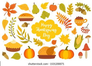 Thanksgiving design elements. . Flat style. Vector illustration.