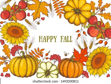 Thanksgiving design template. Hello autumn illustration. Harvest festival. Hand drawn frame with fall leaves, pumpkin and sunflower. Vector illustration