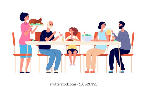 Thanksgiving dinner. Cartoon family eating, holiday table meals. Cute adults kids together, traditional christmas lunch vector illustration