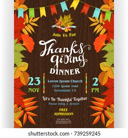 Thanksgiving dinner poster template. Text customized for invitation. Colorful borders from autumn season leaves. Flags garland. Ornate background. November holidays theme. Vector illustration.