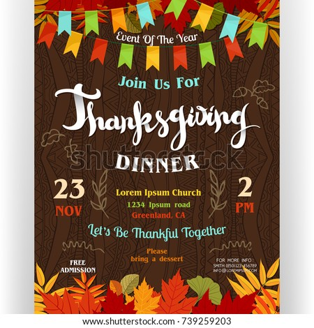 thanksgiving dinner poster template text customized のベクター画像