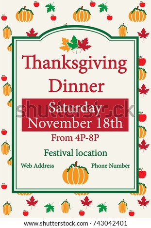 thanksgiving dinner template useful poster invitation stock vector