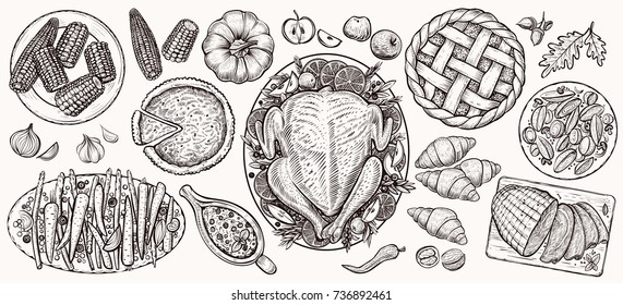 Thanksgiving dinner, top view. Food vector realistic illustrations for tradition festive menu. Decorated turkey, baked potatoes, fall seasonal vegetables, cranberry sauce, pumpkin pie, ham and corn.