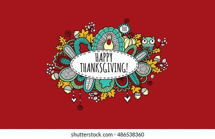 Thanksgiving doodle vector illustration with the words happy thanksgiving in an oval panel surrounded by a turkey, pumpkin, owl, leaves, acorns, berries, hearts, swirls and abstract shapes on red