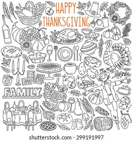 Thanksgiving doodles set. Traditional symbols, food and drinks - turkey, pumpkin pie, corn, wine. Freehand vector drawings collection isolated over white background