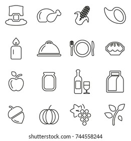 Thanksgiving or Family Holiday Dinner Icons Thin Line Vector Illustration Set