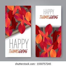 Thanksgiving flyer, banner or poster set. Fall traditional american holiday. Background with maple and oak red and orange leaves on wooden rustic board. Vector illustration.