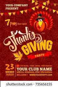 Thanksgiving flyer or poster template. Red background with line art leaves pattern. Cheerful turkey, calligraphic inscription Thanks Giving and space for your text. Vector illustration.