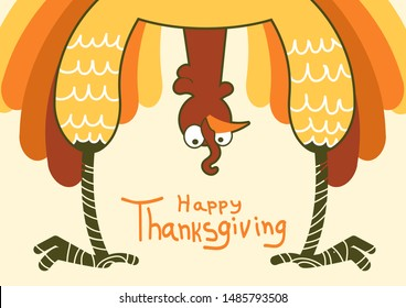 Thanksgiving funny turkey for Happy Thanksgiving day. Vector color symbol illustration with text