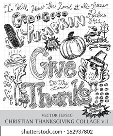 Thanksgiving give thanks Christian hand drawn vector for church   EPS10