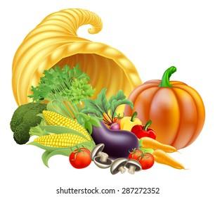 Thanksgiving or golden horn of plenty cornucopia full of vegetables and fruit produce