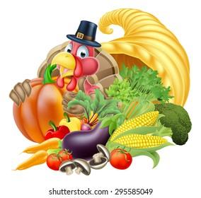 Thanksgiving golden horn of plenty cornucopia full of vegetables and fruit produce with cartoon turkey bird wearing a pilgrim or puritan thanksgiving hat
