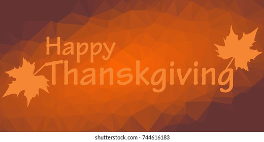 Thanksgiving greeting card with polygonal background and maple leaves - Shutterstock ID 744616183