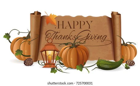 Thanksgiving greeting card with pumpkin, zucchini and unfolded vintage scroll with a greeting inscription. Autumn concept design. Vector illustration isolated on white background