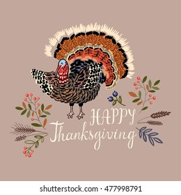 Thanksgiving greeting card vector illustration