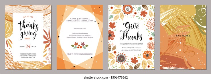 Thanksgiving greeting cards and invitations. Vector illustration.