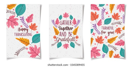 thanksgiving greeting cards leaves foliage vector illustration