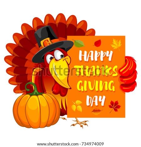 Thanksgiving greeting design cheerful turkey pumpkin stock vector thanksgiving greeting design with cheerful turkey pumpkin and calligraphy inscription happy thanksgiving day vector m4hsunfo