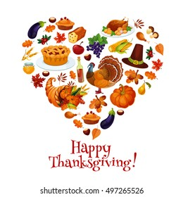 Thanksgiving heart shape with vector icons. Design of sticker with pattern of traditional autumn thanksgiving celebration symbols of turkey, pumpkin, hat, food plenty, cornucopia
