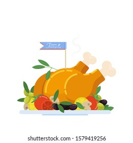 Thanksgiving holiday baked Turkey is decorated with vegetables and olives. Blue flag with congratulations. Flat design. Vector illustration on isolated white background