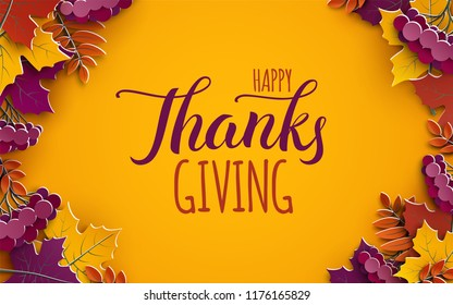 Thanksgiving holiday banner with congratulation text. Autumn tree leaves on yellow background. Autumnal design for fall season poster, thanksgiving greeting card, paper cut style, vector illustration