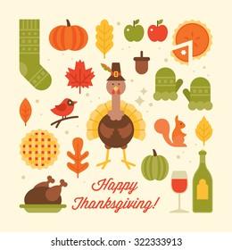 Thanksgiving holiday flat stylish icons. Vector illustration