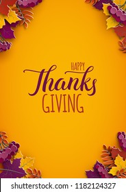 Thanksgiving holiday poster with congratulation text. Autumn tree leaves on yellow background. Autumnal design for fall season poster, thanksgiving greeting card, paper cut style, vector illustration