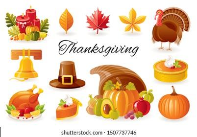 Thanksgiving icon set. Turkey, pumpkin pie, cornucopia, autumn leaf, fall harvest vegetables & fruits, roast turkey. Cartoon 3d Happy Thanks giving day vector illustration isolated on white background