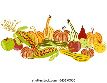 Thanksgiving icons. Fall produce. Hand-drawn illustrations. Autumn symbols. Apples, pears, pumpkins, squash and corn. Holliday background, card, scrapbook paper and more.
